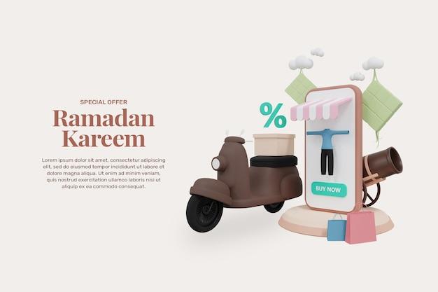 Rendering 3d ramadan kareem vendita banner modello promozione design