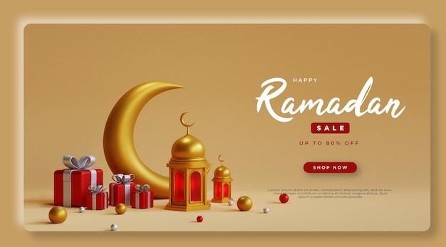 Vendita di ramadan di rendering 3d con elemento realistico