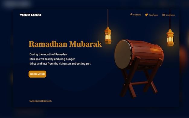 Rendering 3d del modello della pagina di destinazione di ramadhan mubarak