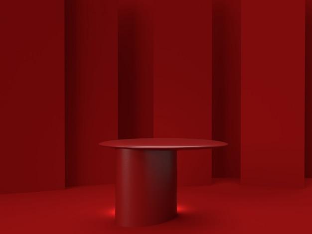 3d che rende il supporto rosso del prodotto su fondo.