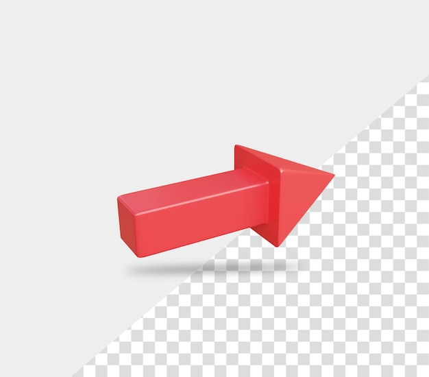 3d rendering freccia destra rossa