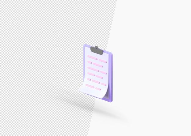 Concetto isolato appunti di registrazione rendering 3d Psd Premium