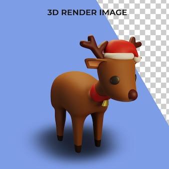 Rendering 3d di renne con concetto di natale e capodanno