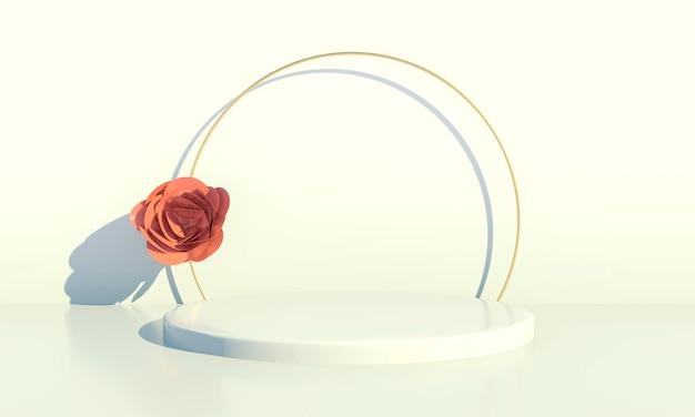 Rendering 3d di fiori di rosa e podio di forma geometrica