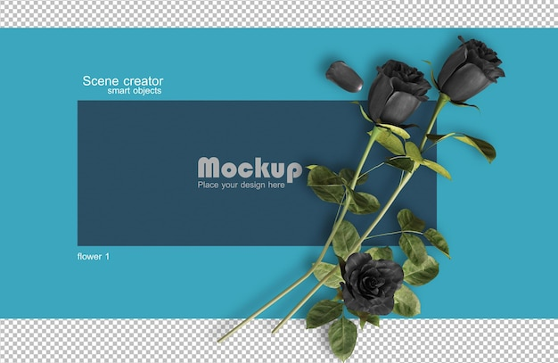 Rendering 3d di rose sulle carte di san valentino