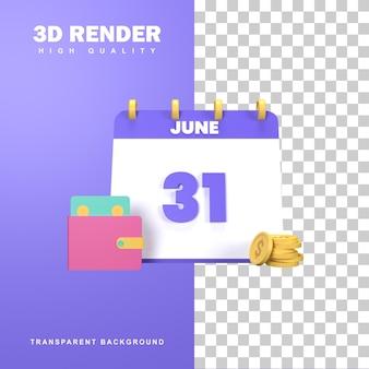 Rendering 3d del concetto di pagamento dello stipendio con un calendario che mostra il 31.