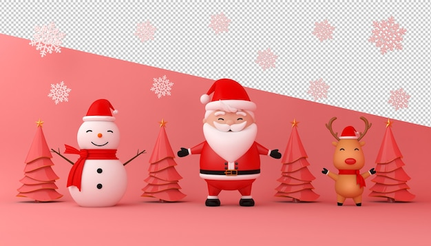 Rendering 3d di babbo natale, confezione regalo e albero di natale