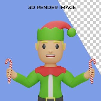 Rendering 3d del personaggio degli elfi di santa con il concetto di natale e capodanno