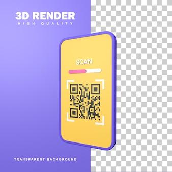 Rendering 3d scansione codice qr con fotocamera smartphone.