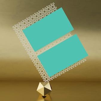 Scena della rappresentazione 3d islamica con il modello del biglietto da visita