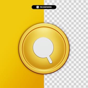 Icona di ricerca rendering 3d sul cerchio dorato isolato