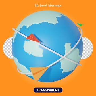 Rendering 3d invia messaggio illustration