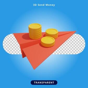 Rendering 3d invia denaro illustrazione