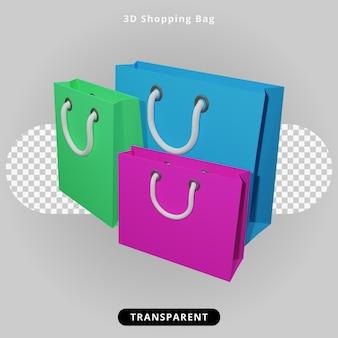 Illustrazione del sacchetto della spesa di rendering 3d
