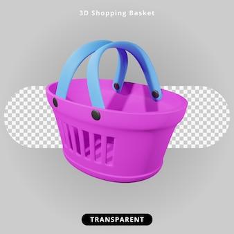 Illustrazione del cestino della spesa rendering 3d