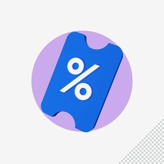 Rendering 3d dell'icona dello sconto commerciale