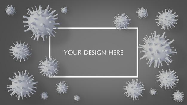 Rappresentazione 3d del modello semplice del virus covid-19