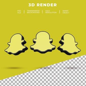 3d rendering snapchat logo isolato