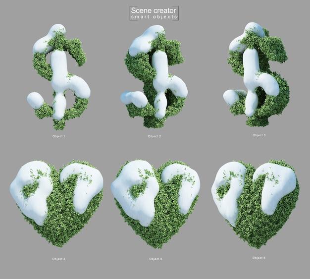 Rendering 3d di neve sui cespugli a forma di simbolo del dollaro e cuore