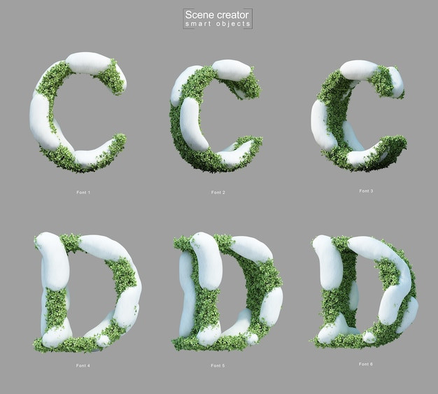 Rendering 3d di neve sui cespugli a forma di lettera c e creatore di scene della lettera d. Psd Premium