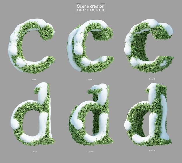 Rendering 3d di neve sui cespugli a forma di lettera ce lettera d