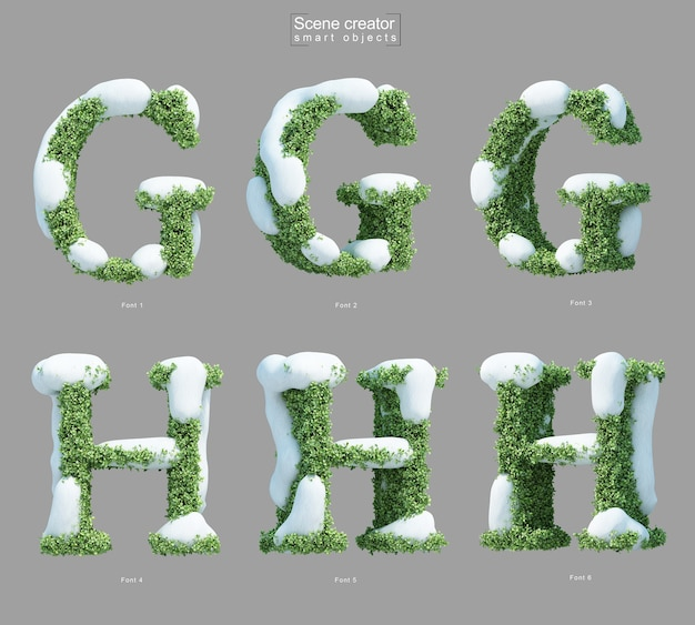 Rendering 3d di neve sui cespugli a forma di lettera g e creatore di scene della lettera h.