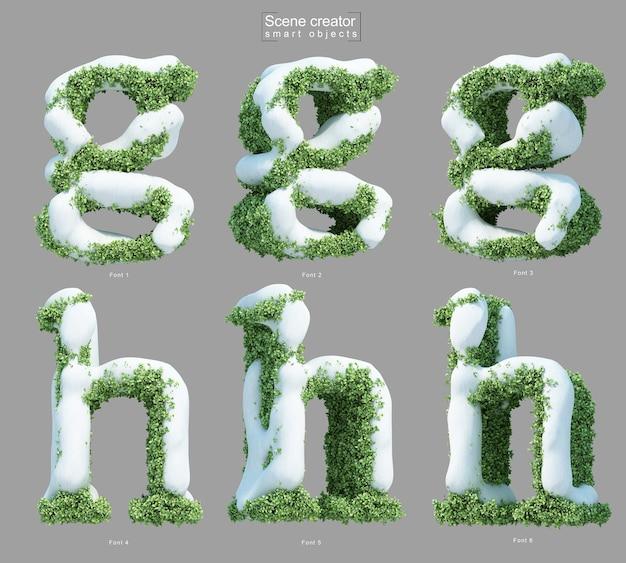 Rendering 3d di neve sui cespugli a forma di lettera ge lettera h
