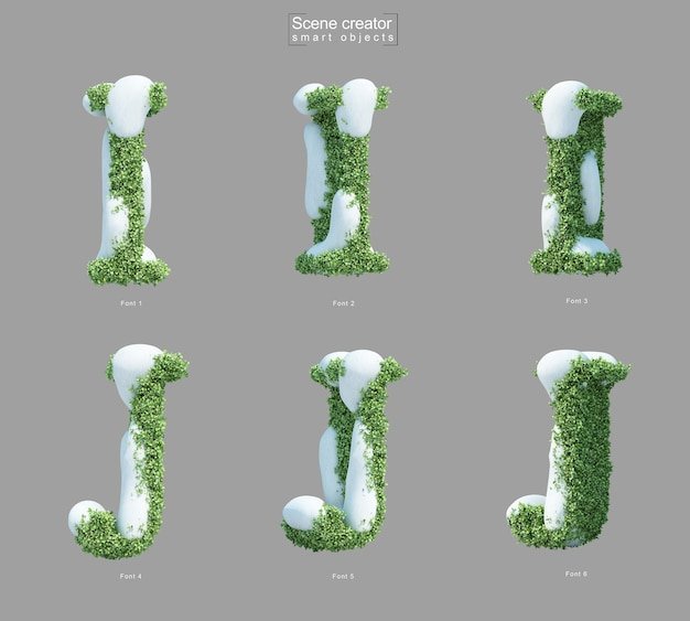 Rendering 3d di neve sui cespugli a forma di lettera i e creatore di scena della lettera j.