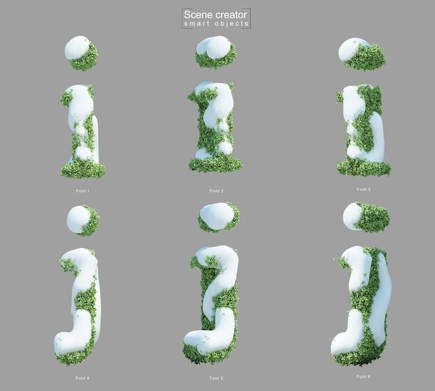 Rendering 3d di neve sui cespugli a forma di lettera i e lettera j
