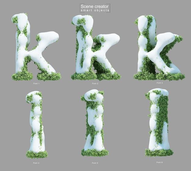 Rendering 3d di neve sui cespugli a forma di lettera k e lettera l