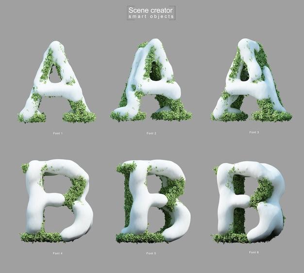 Rendering 3d di neve sui cespugli a forma di lettera a e creatore di scene della lettera b.