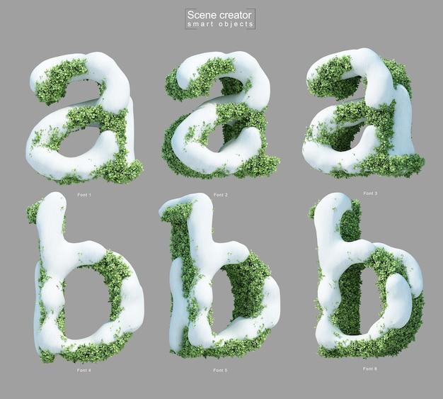 Rendering 3d di neve sui cespugli a forma di lettera ae lettera b