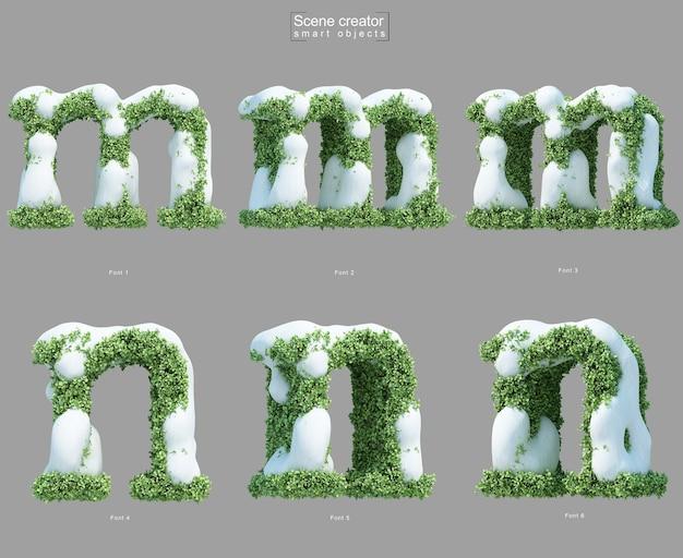 Rendering 3d di neve sui cespugli a forma di lettera me lettera n