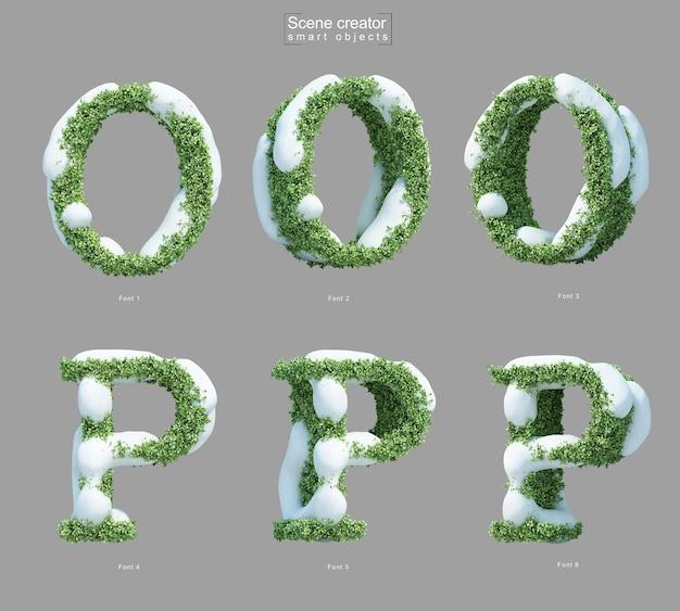 Rendering 3d di neve sui cespugli a forma di lettera o e creatore di scene della lettera p.