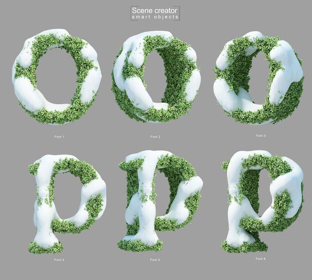 Rendering 3d di neve sui cespugli a forma di lettera o e lettera p