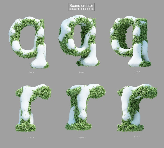 Rendering 3d di neve sui cespugli a forma di lettera qe lettera r
