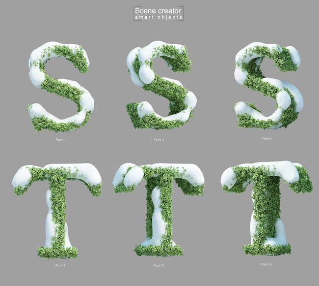 Rendering 3d di neve sui cespugli a forma di lettera s e creatore di scene della lettera t.