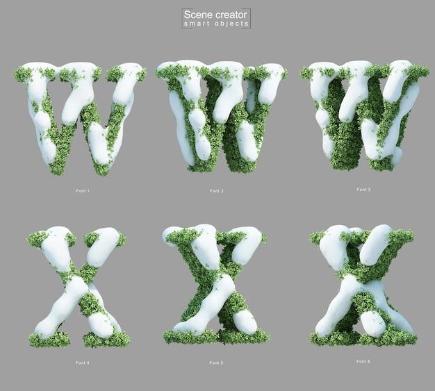 Rendering 3d di neve sui cespugli a forma di lettera w e creatore di scene della lettera x.