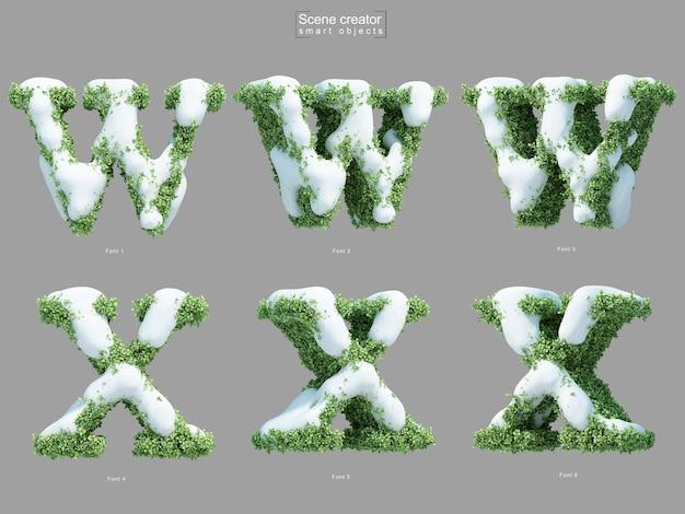 Rendering 3d di neve sui cespugli a forma di lettera w e lettera x