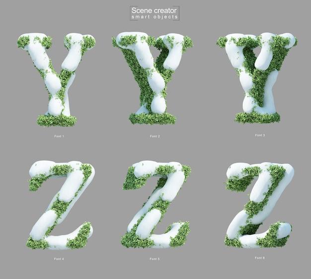 Rendering 3d di neve sui cespugli a forma di lettera y e creatore di scene della lettera z.