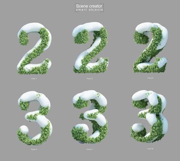 Rendering 3d di neve sui cespugli a forma di numero 2 e numero 3