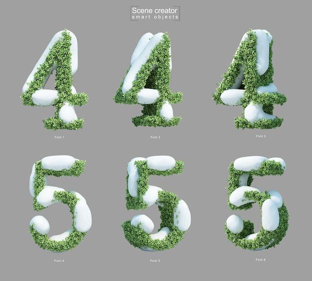 Rendering 3d di neve sui cespugli a forma di numero 4 e numero 5