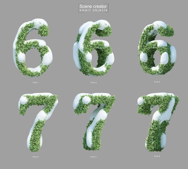 Rendering 3d di neve sui cespugli a forma di numero 6 e numero 7