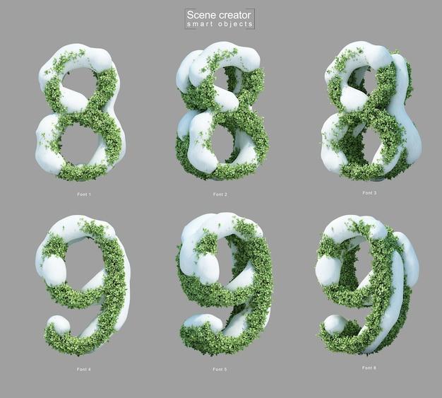 Rendering 3d di neve sui cespugli a forma di numero 8 e numero 9