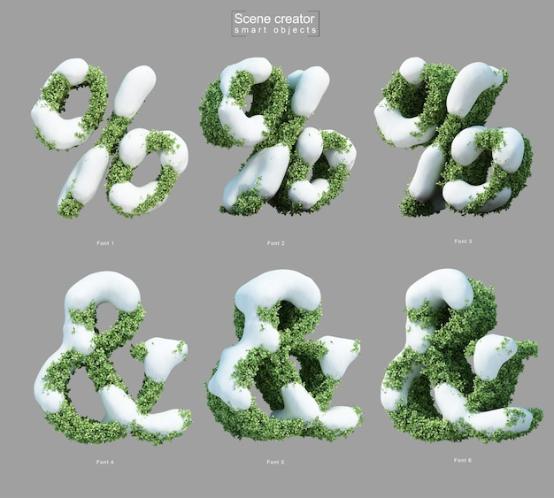 Rendering 3d di neve sui cespugli a forma di percentuale e simbolo e commerciale