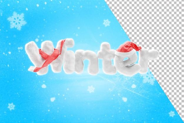 Rendering 3d del testo invernale di neve con cappello e sciarpa
