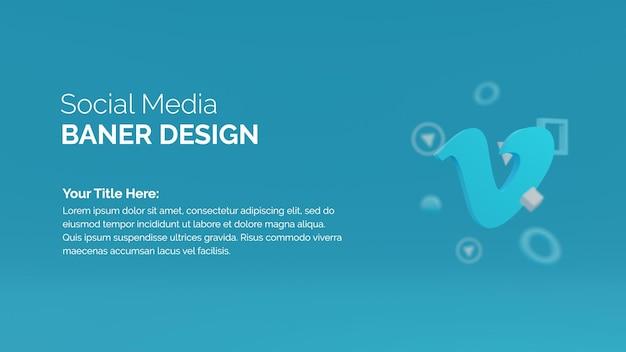 Rendering 3d social media marketing con vimeo logo