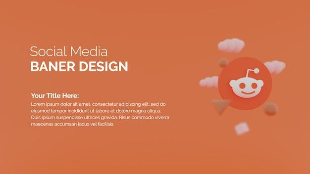 Rendering 3d modello di post sui social media con logo reddit