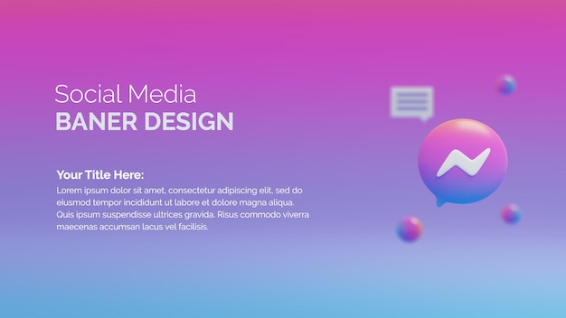 Modello di social media di rendering 3d con logo messenger