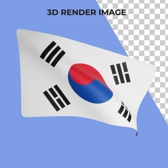 Rendering 3d del concetto di bandiera della corea del sud giornata nazionale della corea del sud